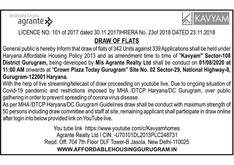 Agrante Kavyam Homes Draw Date